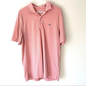 Vineyard Vines Pink Striped Polo Shirt Medium
